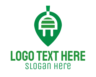 Plug In - Green Electric Leaf logo design