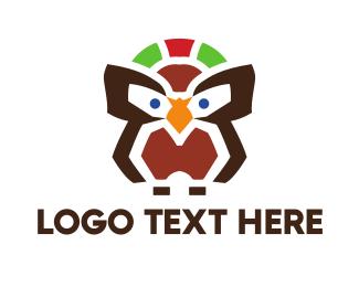 Smart - Abstract Brown Owl logo design