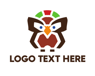 Wise - Abstract Brown Owl logo design