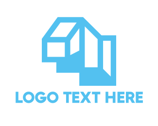 Land - Cyan Blue Geometric Structure logo design