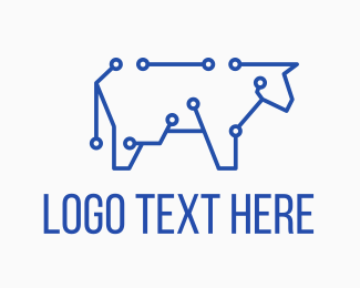 Cow - Blue Cyber Cow logo design