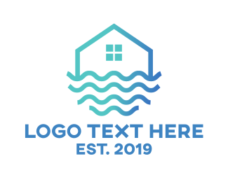 Broker - Blue Wavy House logo design