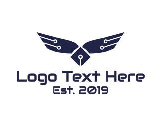 Motherboard - Circuitry Wings logo design