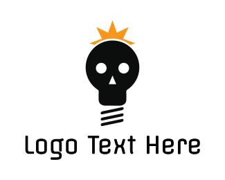 Lightbulb - Black Skull Lightbulb logo design