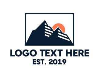 Camping Equipment - Mountain Silhouette  logo design
