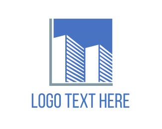 """Blue Buildings"" by LogoBrainstorm"