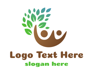 Kindness - Brown Couple Leaf logo design