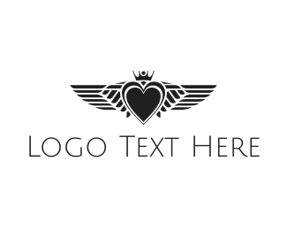 Romantic - Winged Heart logo design