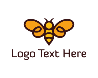 Wasp - Flying Bee logo design