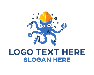 Labour - Handyman Octopus logo design