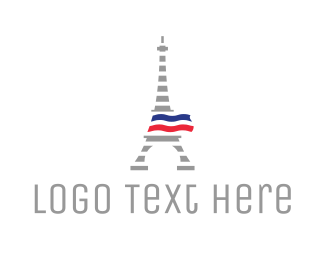 Paris - Striped Eiffel Tower logo design