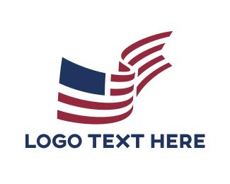 Bookmark - American Flag Library logo design