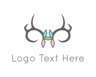 Hunt - Flowers & Antlers logo design