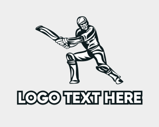 Varsity - Cricket Player logo design