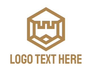 Kingdom - Gold Hexagon Castle logo design