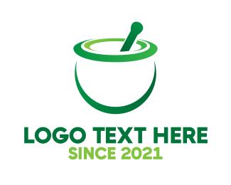 Pharmacist - Green Mortar & Pestle logo design