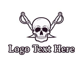 Slayer - Pirate Skull & Swords logo design