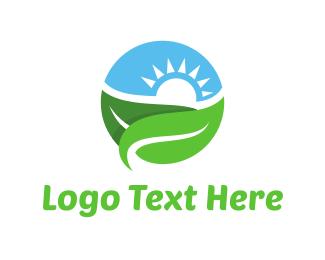 Vegetarian - Landscape Circle logo design
