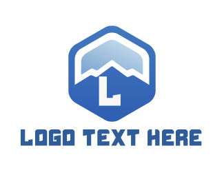 Camping Equipment - Blue Mountain Hexagon logo design