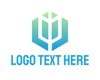 Archery - Gradient Hexagon Arrow logo design