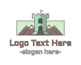 Amusement Park - Mountain Castle Tower logo design