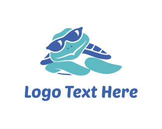 Sea - Blue Turtle Cartoon logo design
