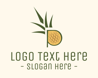 Fruit - Pineapple P logo design
