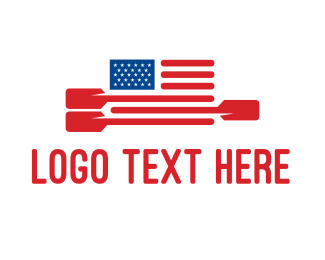 Sports - American Flag Paddle logo design