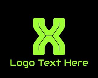 Virus - Green Gamer Letter X logo design