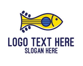 String - Guitar Fish logo design