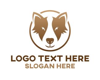 Pet Grooming - Gold Dog Badge logo design