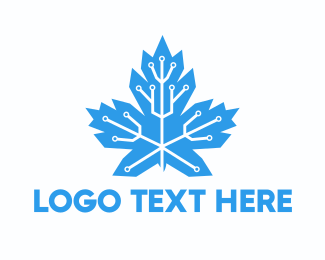 Maple - Circuit Maple Leaf logo design