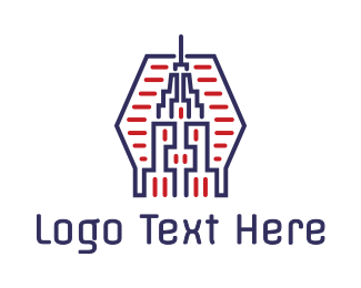 Empire State - Abstract Blue Red Tower logo design