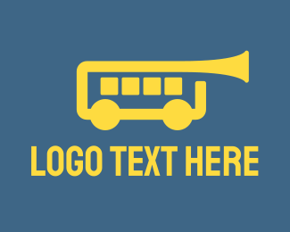 Saxophone - Trumpet Bus logo design