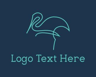 Flamingo - Blue Line Stalk logo design