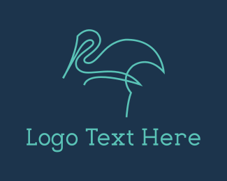 Heron - Blue Line Stalk logo design
