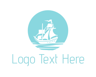 Seaman - Blue Pirate Ship logo design