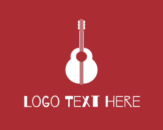 Guitar - Red & White Guitar logo design