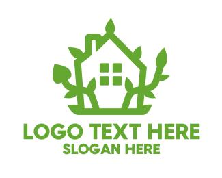 House - Eco Plant House logo design