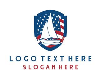 American - Patriotic Boat logo design