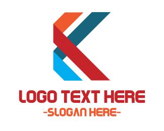 Kiosk - Ribbon Letter K logo design