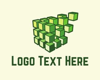 Rubik - Green Cubes logo design