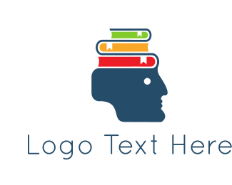 Bookmark - Head & Books logo design