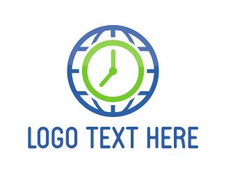 World - World Clock logo design