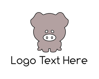 Pork - Grey Piglet logo design