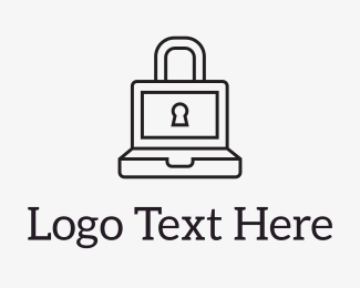 Cryptocurrency - Laptop Lock logo design