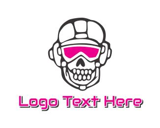 Crypt - Pink Goggle Skull logo design