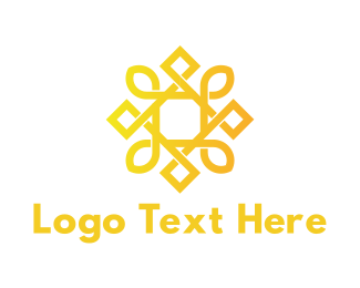 Icon - Geometric Golden Sun logo design