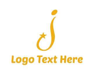 Letter J - Golden Star J logo design