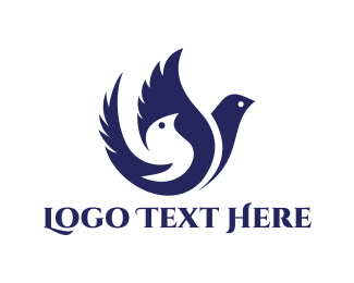 Feather - Blue Pigeons logo design